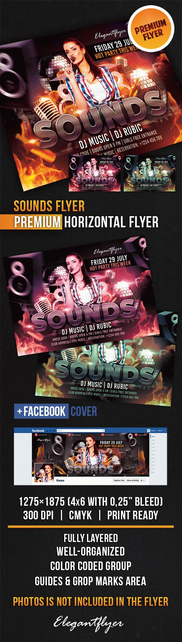 Sounds Flyer – Horizontal Flyer PSD Template + Facebook Cover