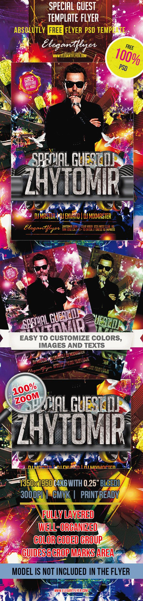 Special Guest – Club and Party Free Flyer PSD Template