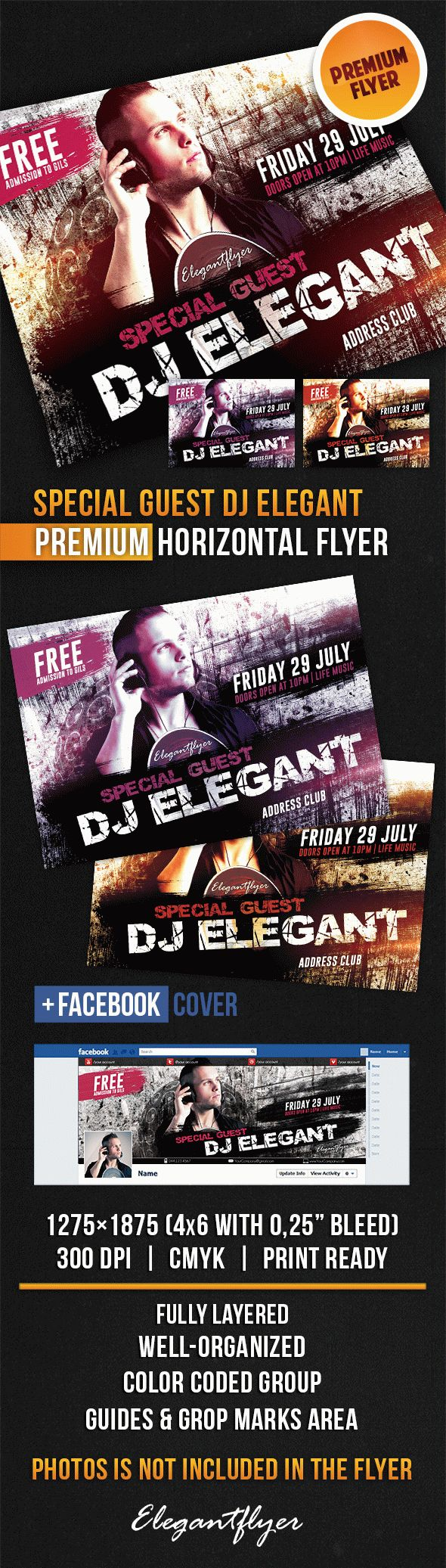 Special Guest DJ Elegant – Horizontal Flyer PSD Template + Facebook Cover