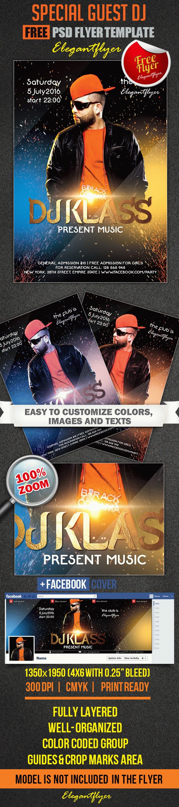 Special Guest DJ – Free Flyer PSD Template + Facebook Cover