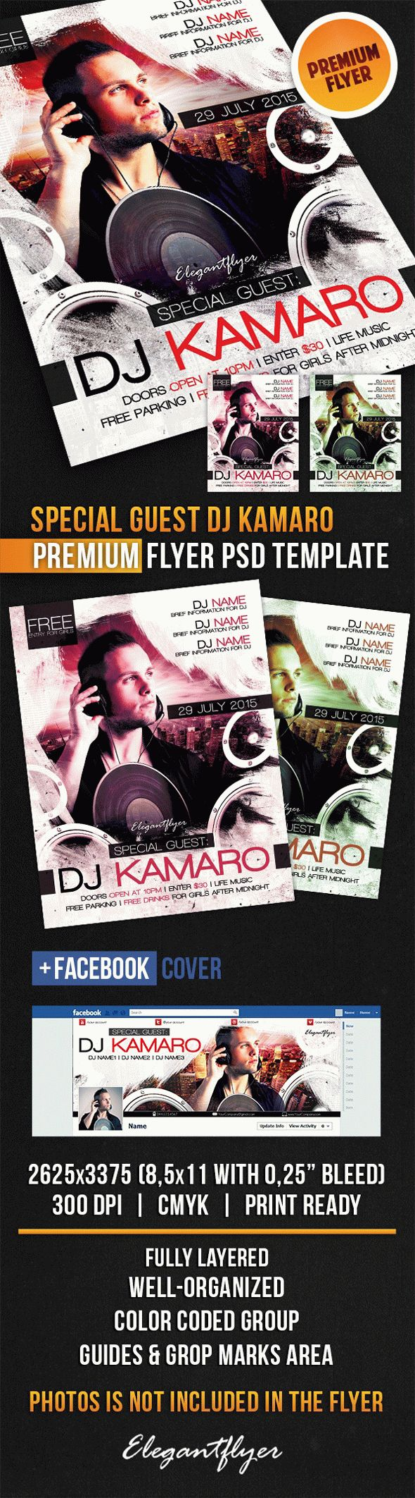 Special Guest Dj Kamaro – Flyer PSD Template + Facebook Cover