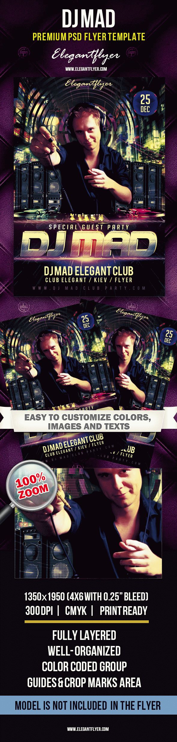 Special Guest Dj Mad – Premium Club flyer PSD Template