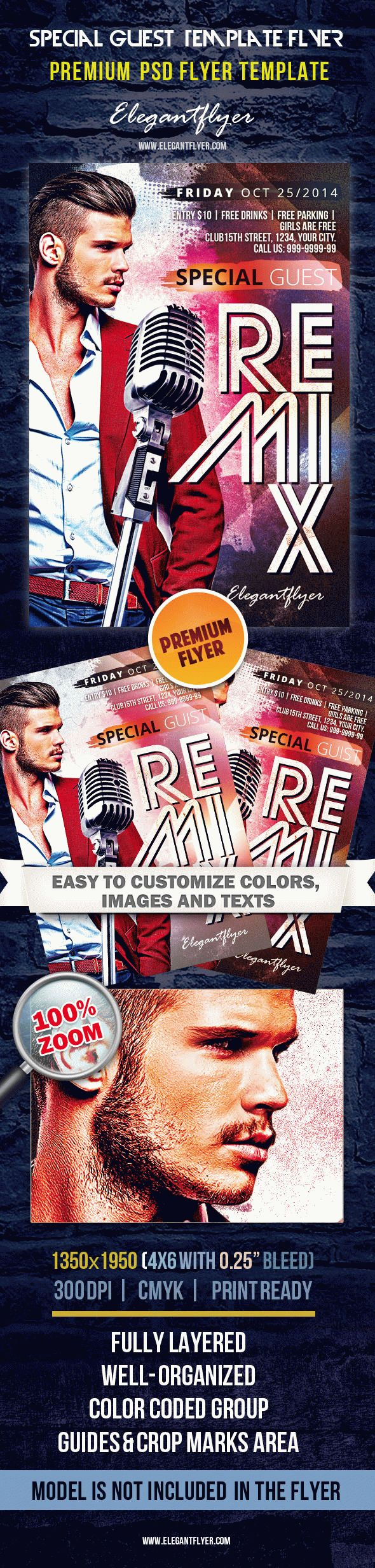 Special Guest 'Remix' – Premium Club flyer PSD Template