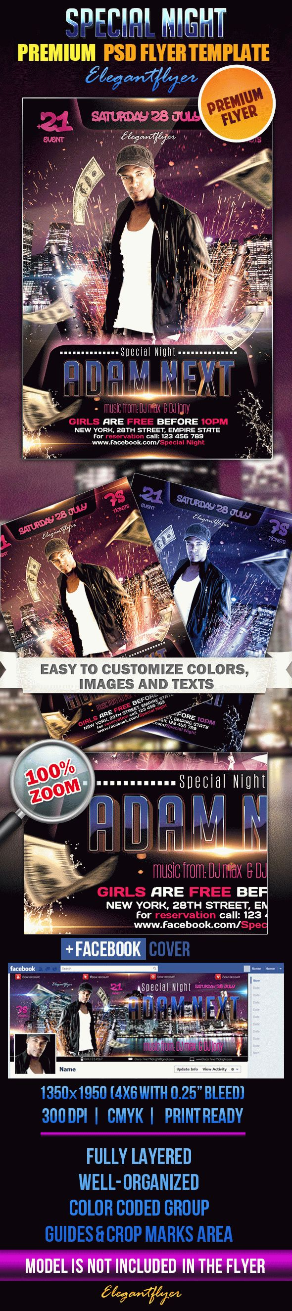Special Night – Flyer PSD Template + Facebook Cover
