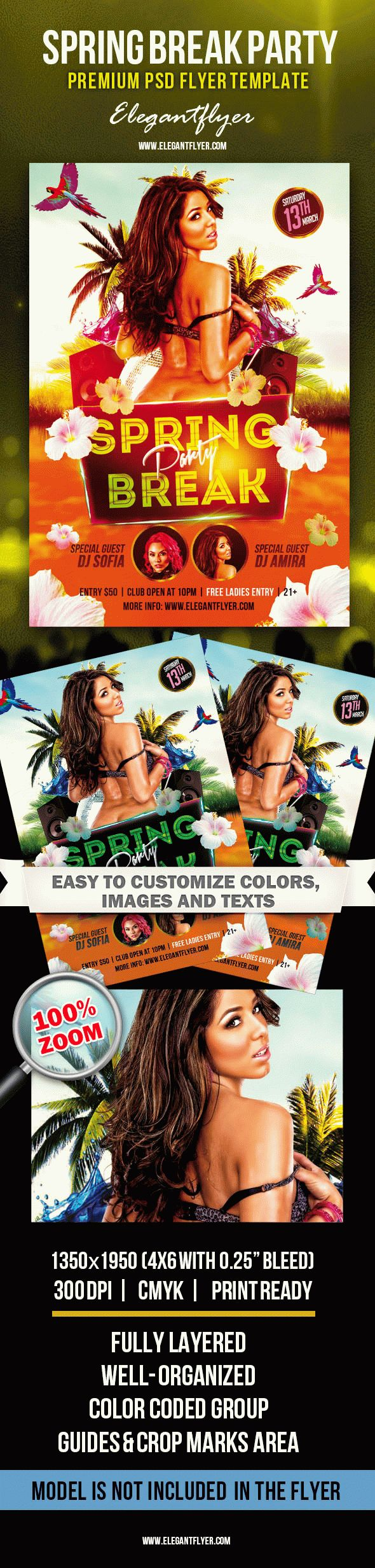 Invitation Club Flyer for Spring Break