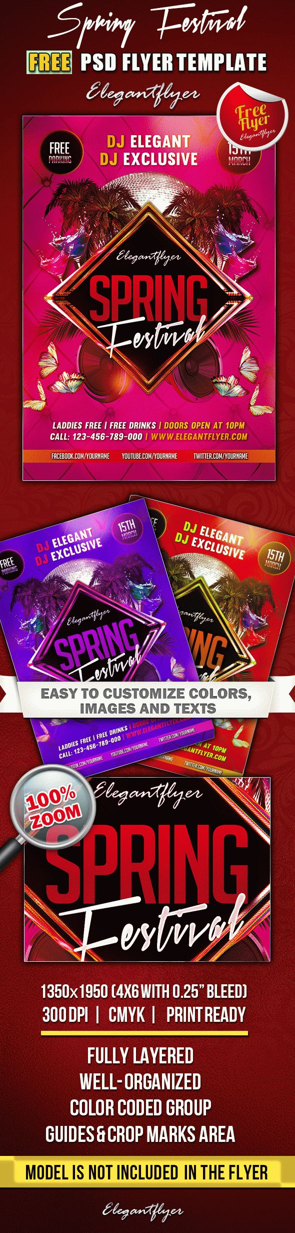 Spring Festival – Club and Party Free Flyer PSD Template