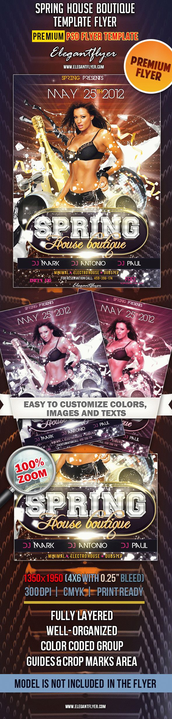 Spring House Boutique – Premium Club flyer PSD Template