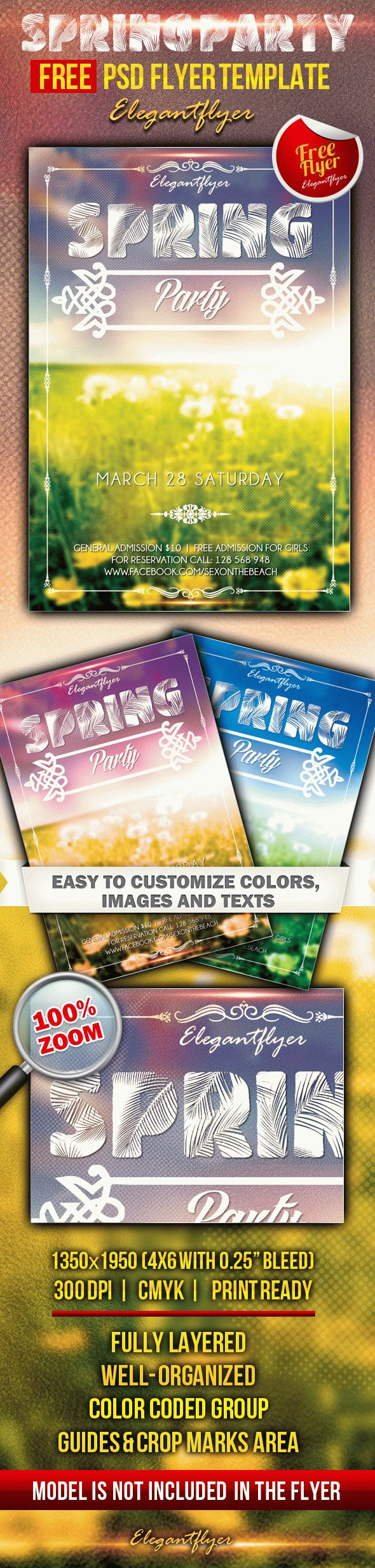 Spring party – Club and Party Free Flyer PSD Template