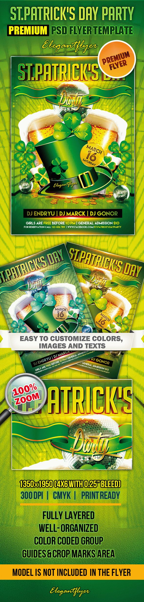 St.Patrick's Day Party 2 – Premium Club flyer PSD Template