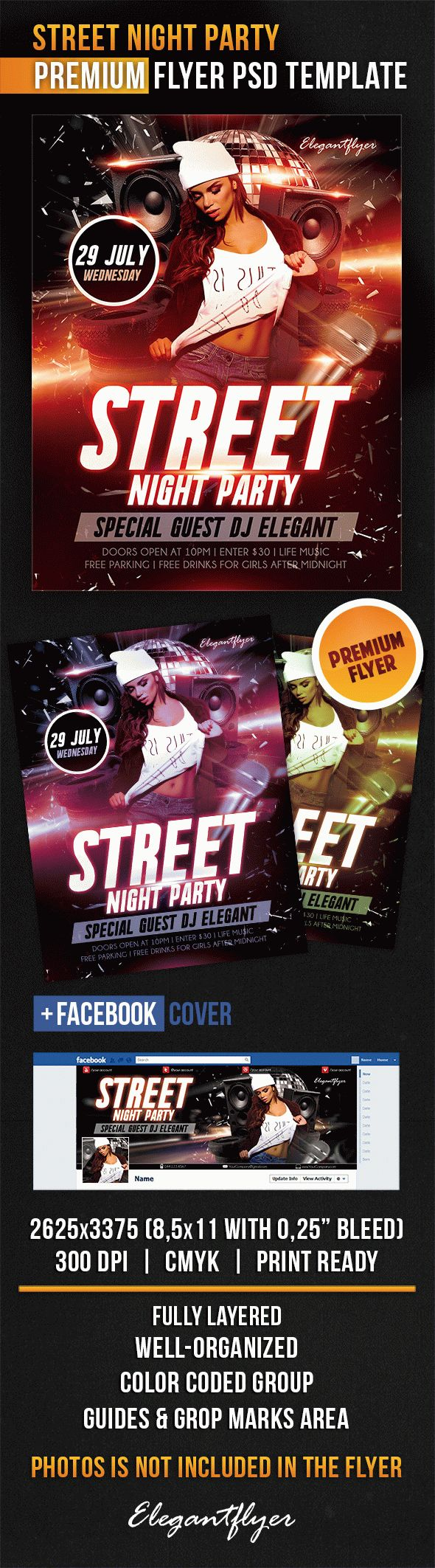 Street Night Party – Flyer PSD Template + Facebook Cover