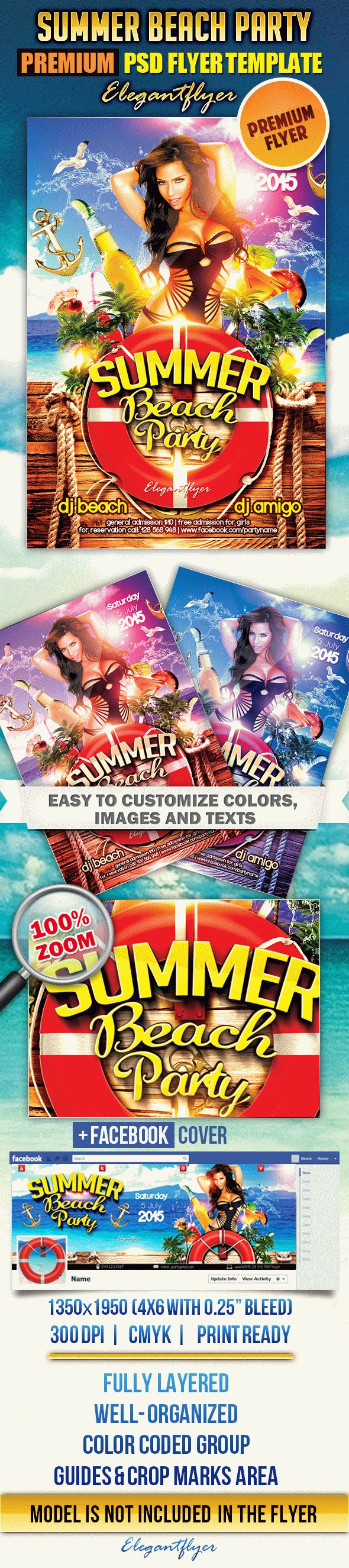 Summer Beach Party 2 – Flyer PSD Template + Facebook Cover