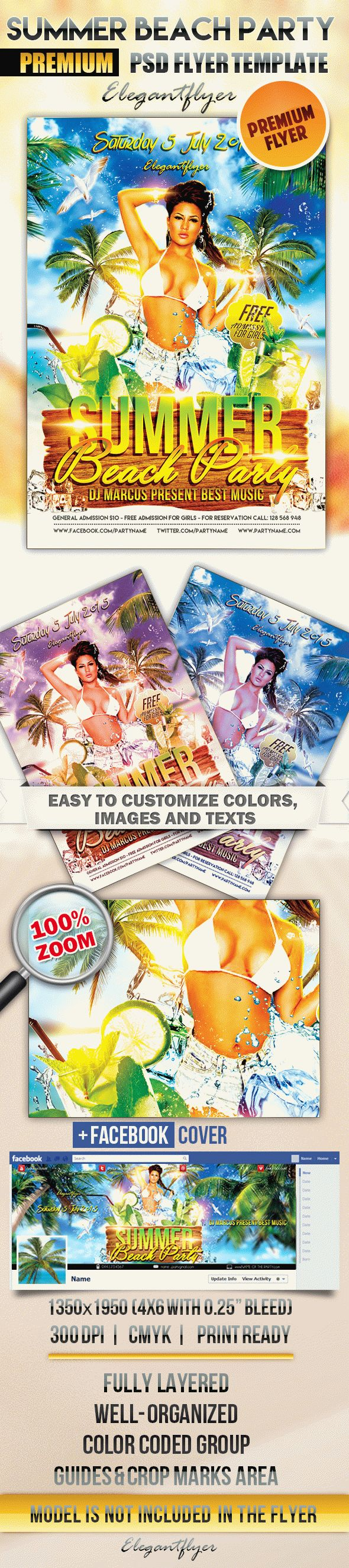 Summer Beach party 4 – Flyer PSD Template + Facebook Cover