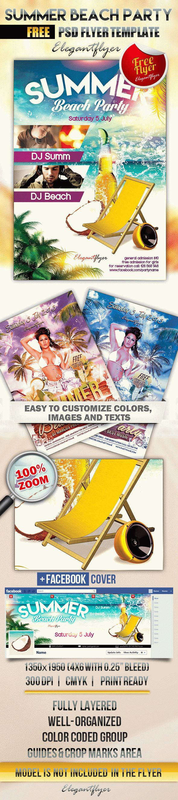Summer Beach Party – Free Flyer PSD Template