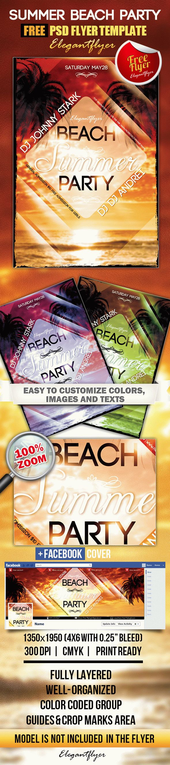 Summer Beach Party – Free Flyer PSD Template + Facebook Cover