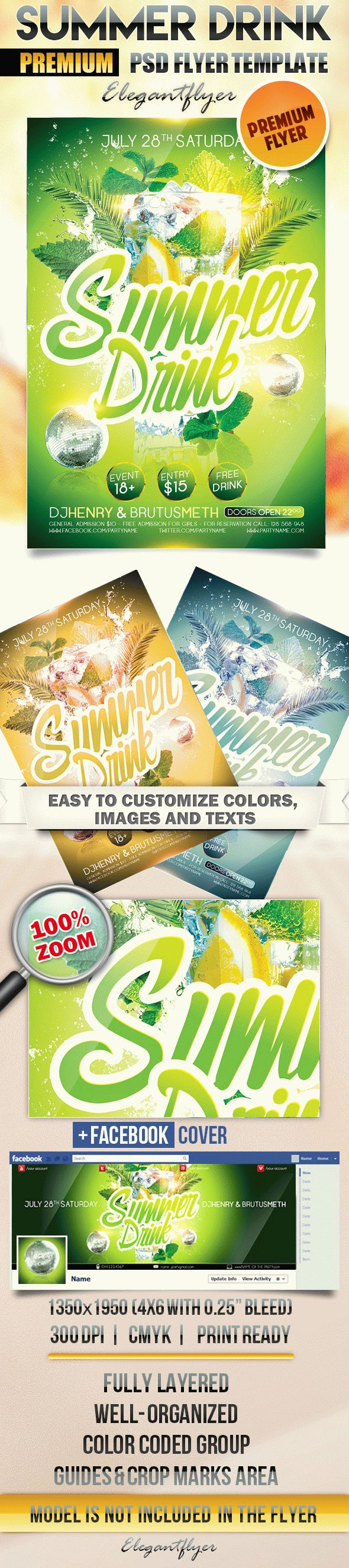 Summer Drink – Flyer PSD Template + Facebook Cover