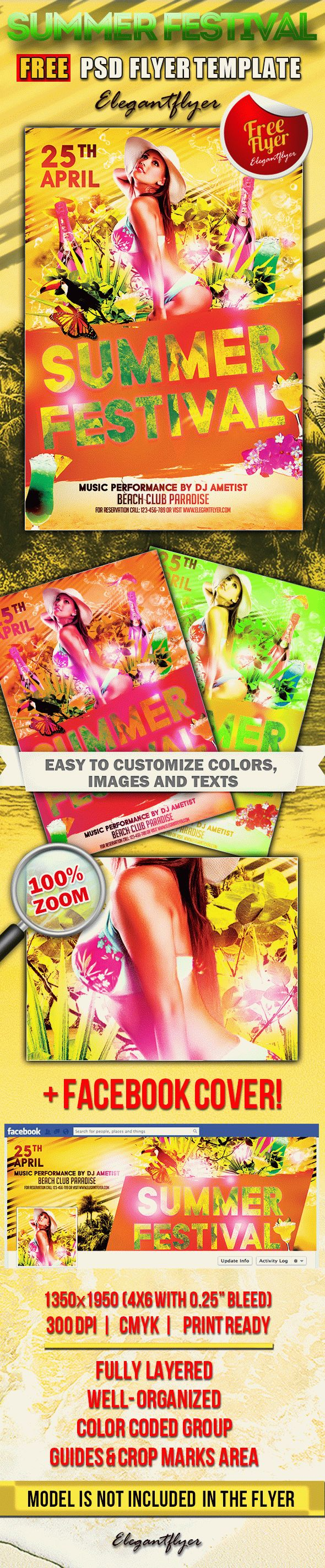 Summer Festival – Free Flyer PSD Template + Facebook Cover