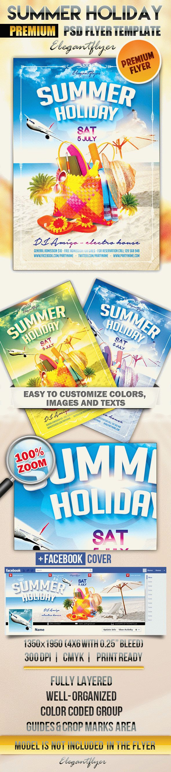Summer Holiday – Flyer PSD Template + Facebook Cover