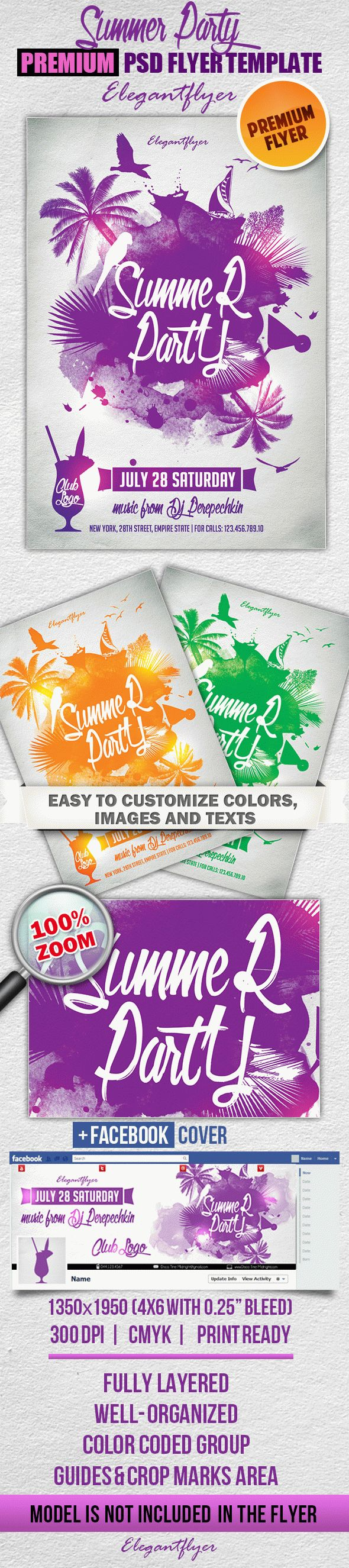 Summer Party 2 – PSD Flyer Templates + Facebook Cover