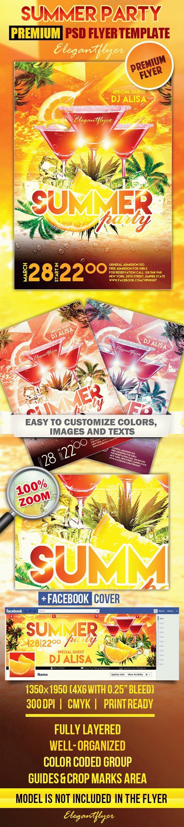 Summer Party 3 – PSD Flyer Templates + Facebook Cover