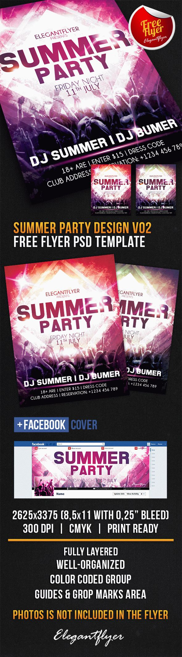 Summer Party Design V02 – Free Flyer PSD Template
