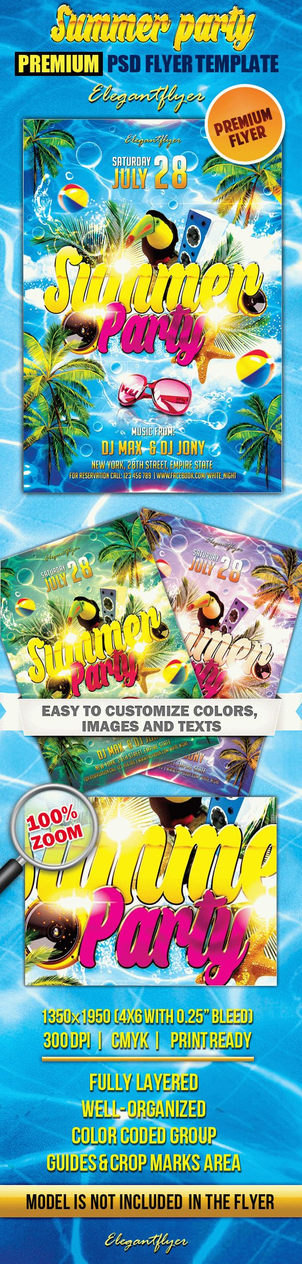 Summer party – Premium Club flyer PSD Template