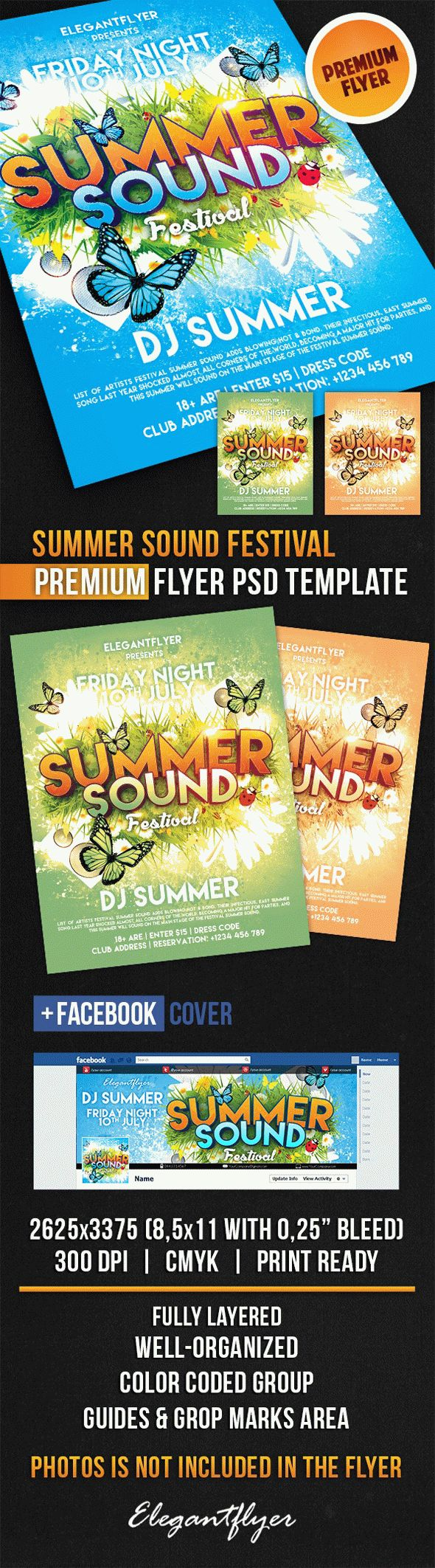 Summer Sound Festival – Flyer PSD Template + Facebook Cover
