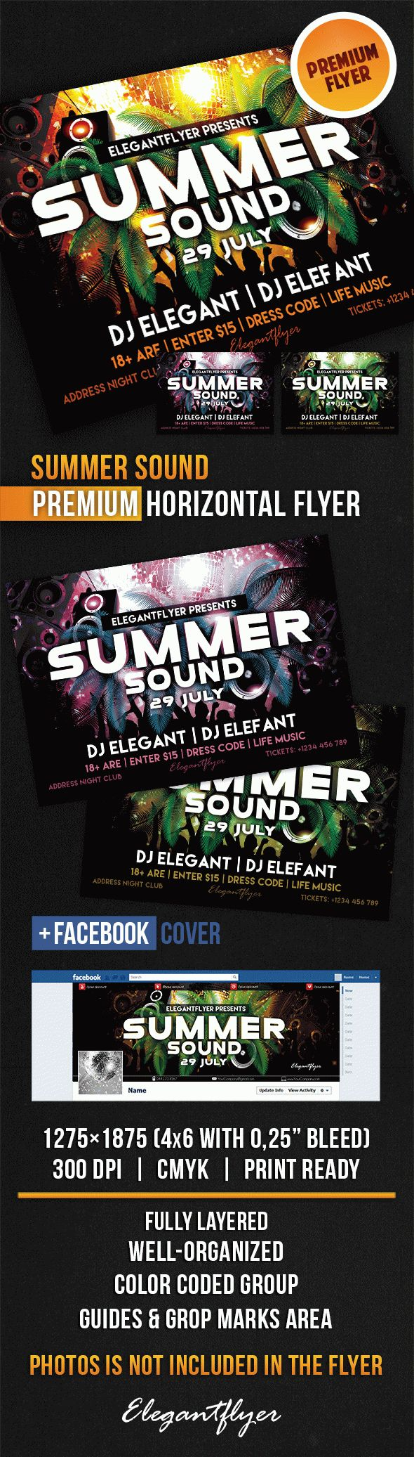 Summer Sound – Horizontal Flyer PSD Template + Facebook Cover
