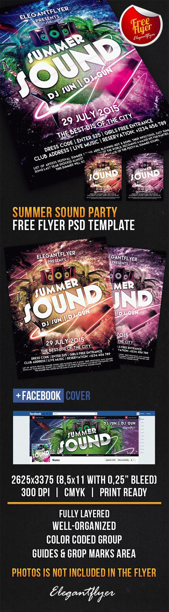 Summer Sound Party – Free Flyer PSD Template + Facebook Cover