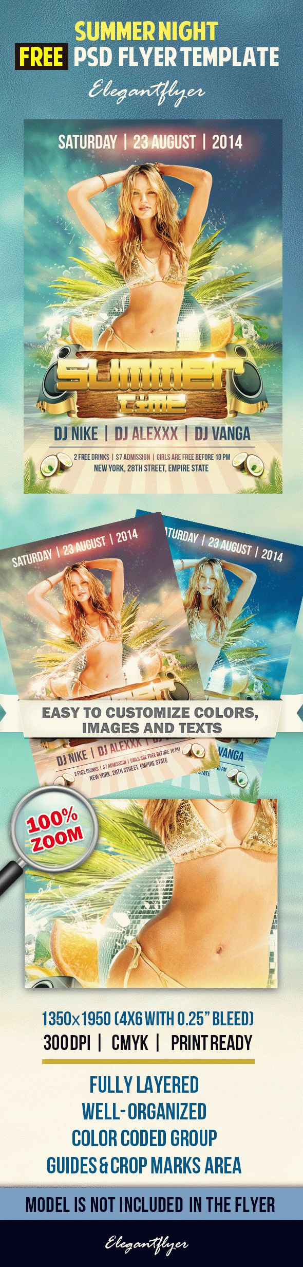 Summer time – Free Flyer PSD Template