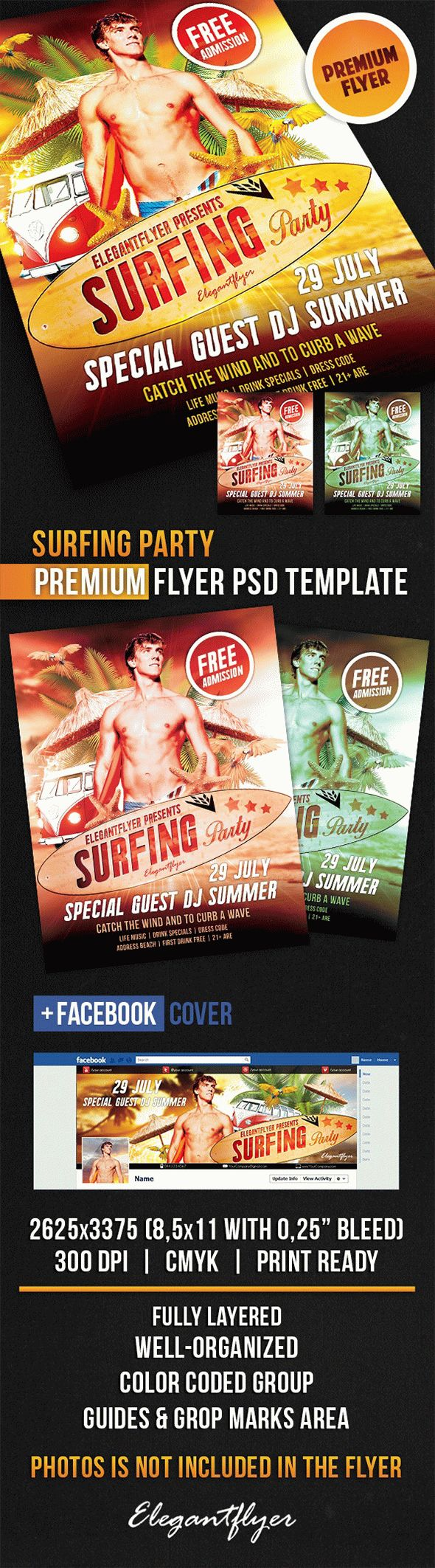 Surfing Party – Flyer PSD Template