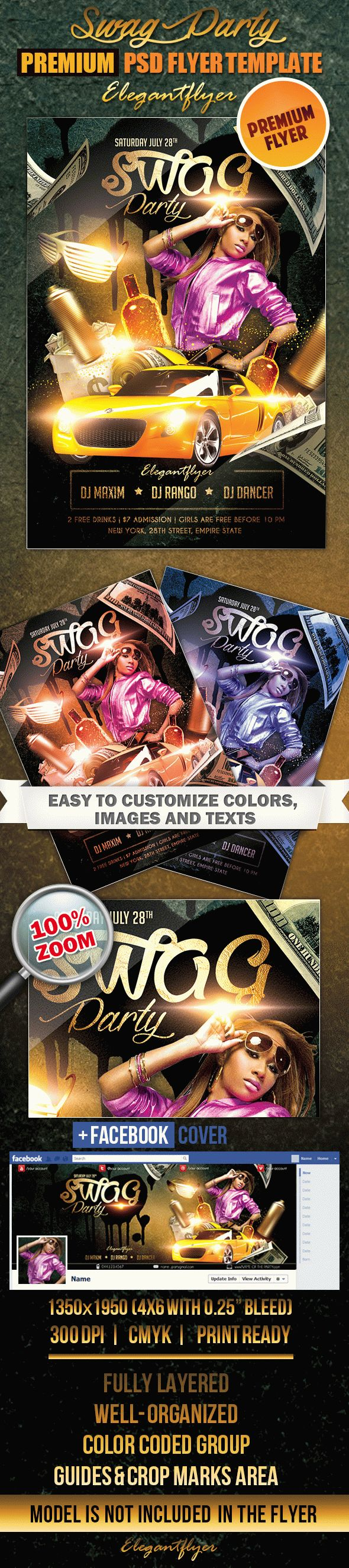 Swag Party – Flyer PSD Template + Facebook Cover