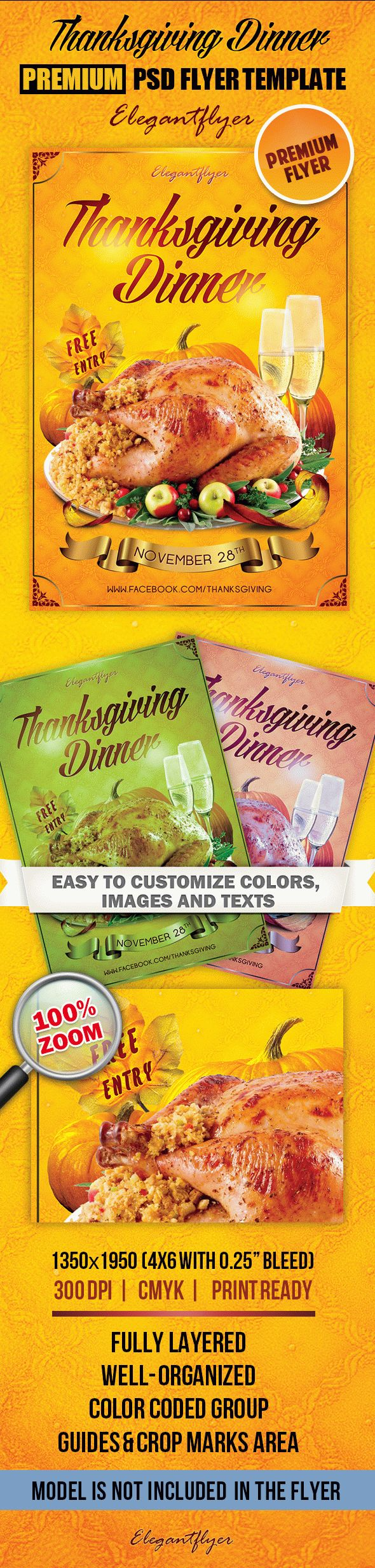 Thanksgiving Dinner – Premium Club flyer PSD Template