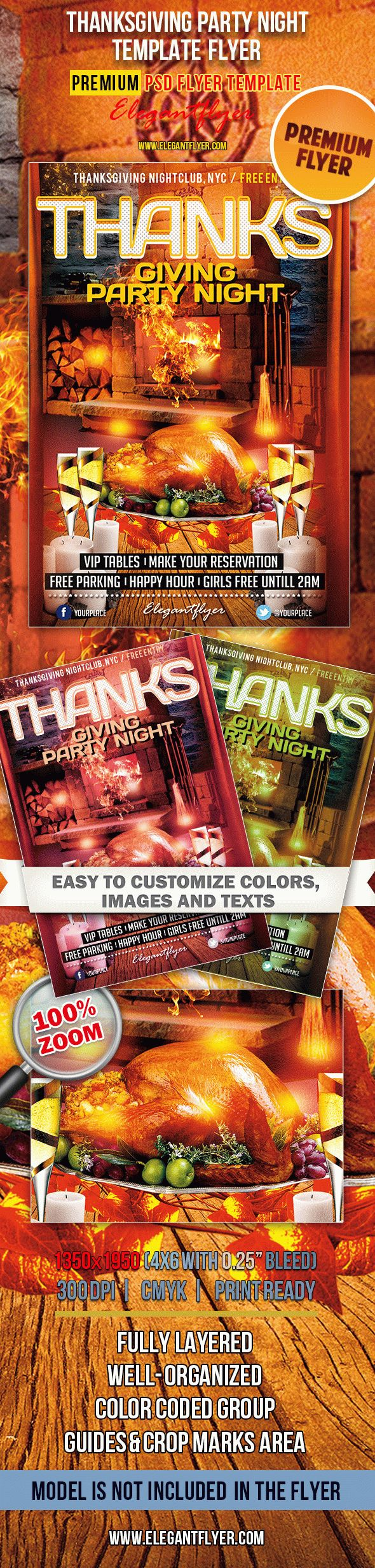 Thanksgiving Party Night – Premium Club flyer PSD Template