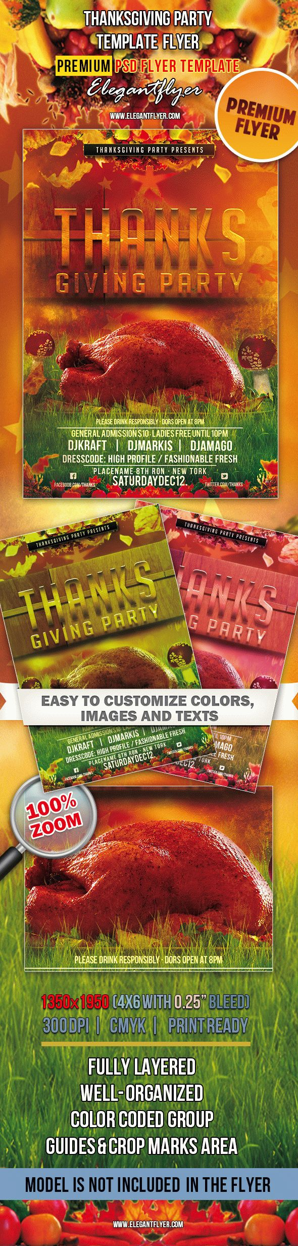 Thanksgiving Party – Premium Club flyer PSD Template