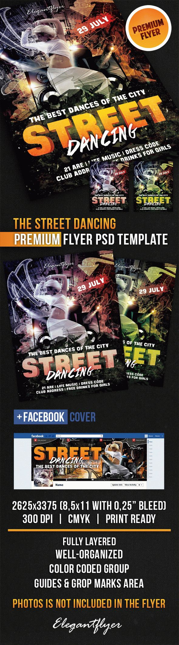 The Street Dancing – Flyer PSD Template + Facebook Cover