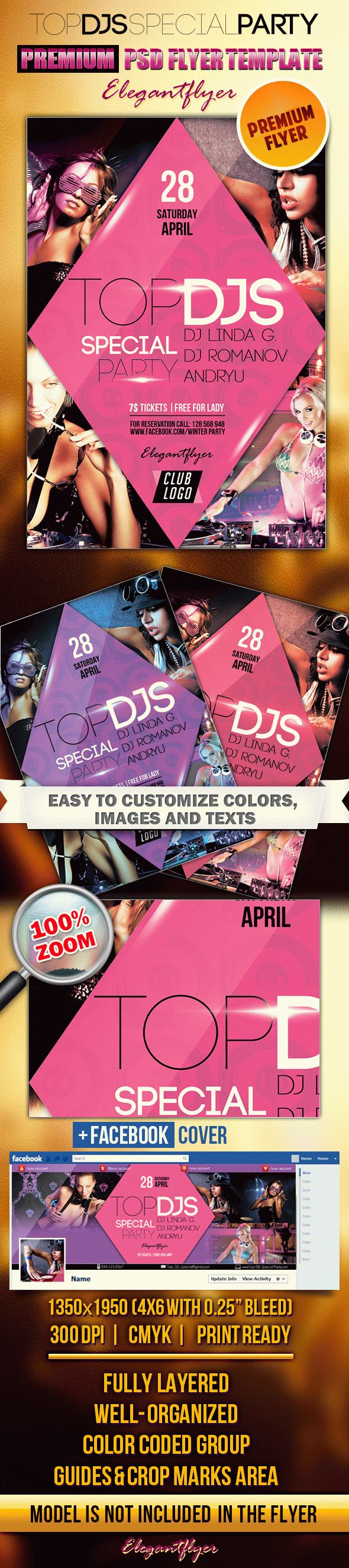 Top DJS Special Party 2 – Flyer PSD Template + Facebook Cover
