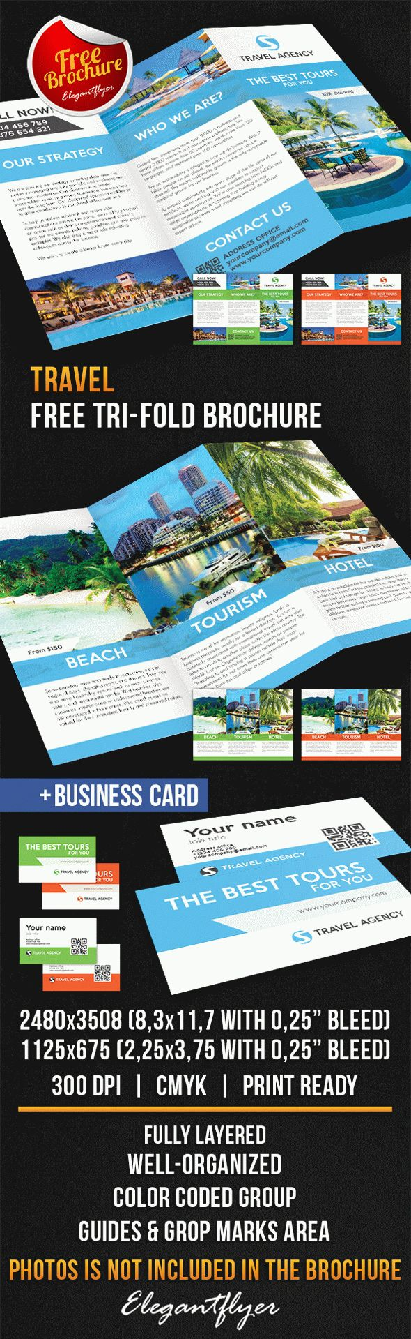 Travel tri fold brochure free psd template by elegantflyer for Free template for brochure tri fold