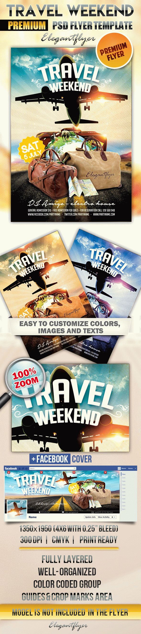 Travel Weekend – Flyer PSD Template + Facebook Cover