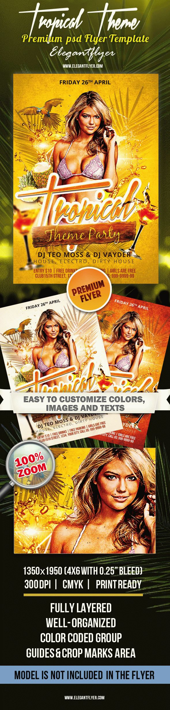 Tropical Theme Party – Premium PSD Flyer Template