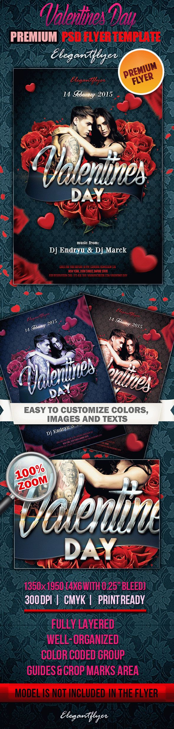 Valentines Day 4 – Premium Club flyer PSD Template