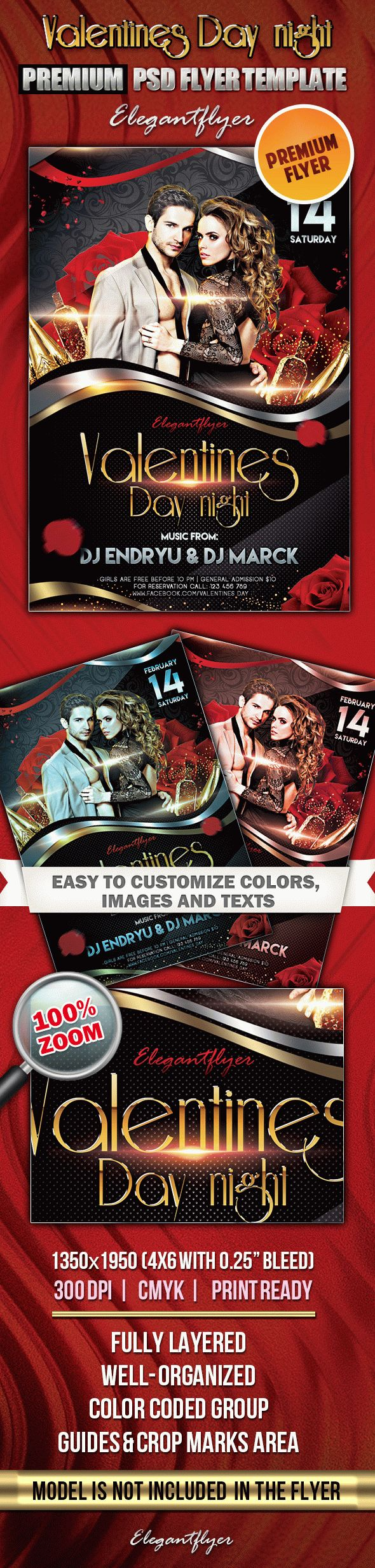 Valentines Day night 2 – Premium Club flyer PSD Template