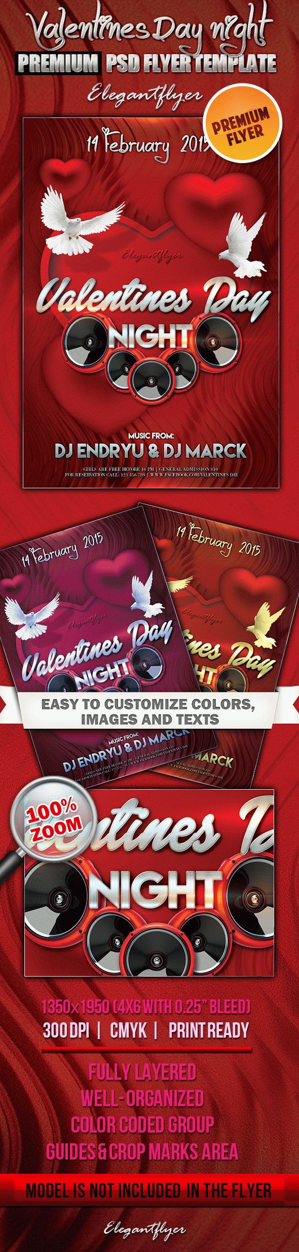 Valentines Day Night – Premium Club flyer PSD Template