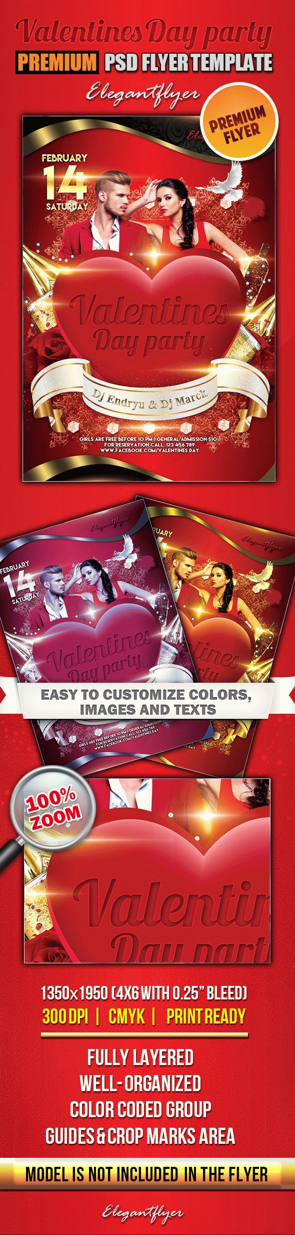 Valentines Day party 2 – Premium Club flyer PSD Template