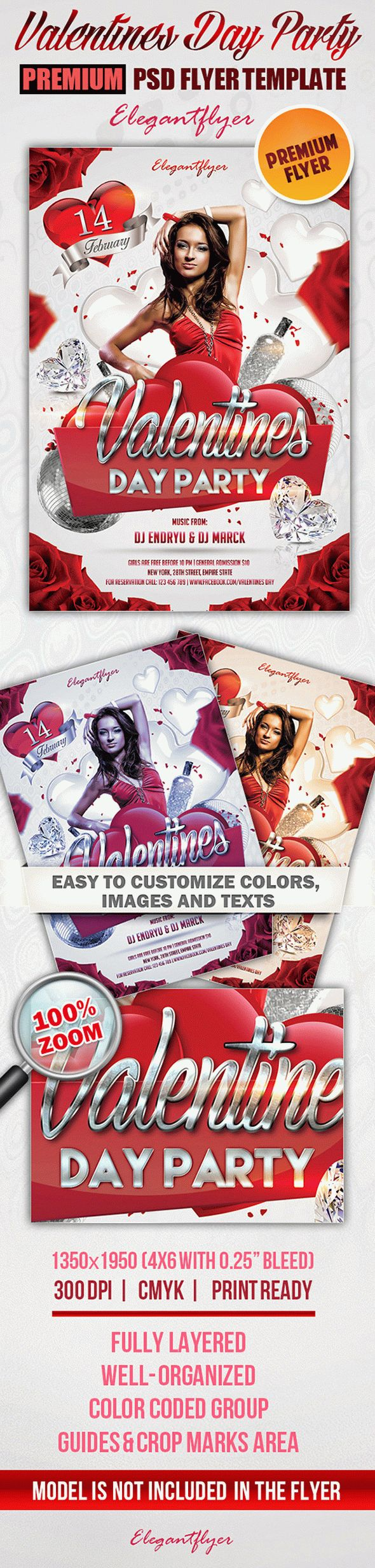 Valentines Day Party – Premium Club flyer PSD Template