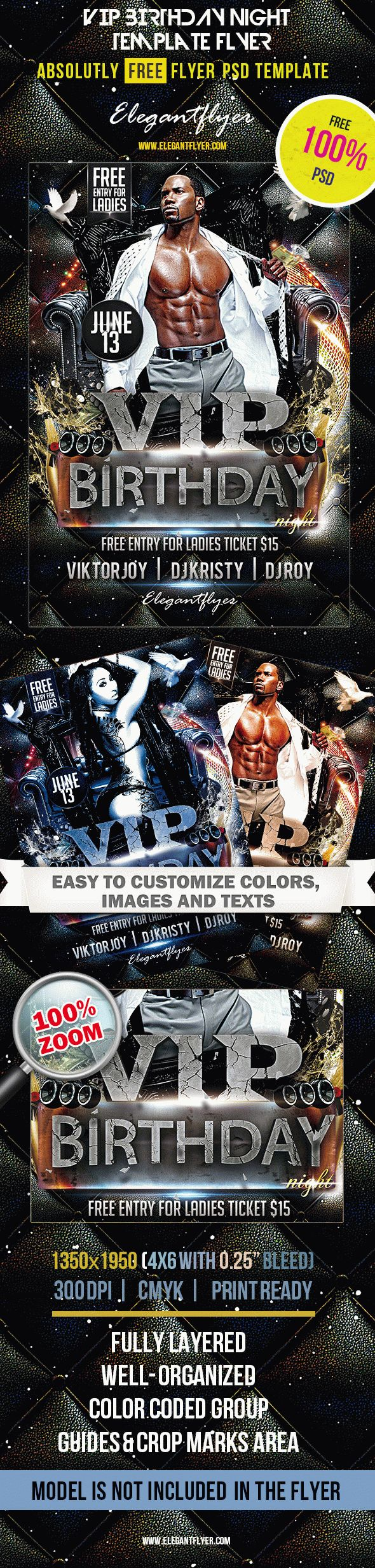 VIP Birthday Night – Club and Party Free Flyer PSD Template