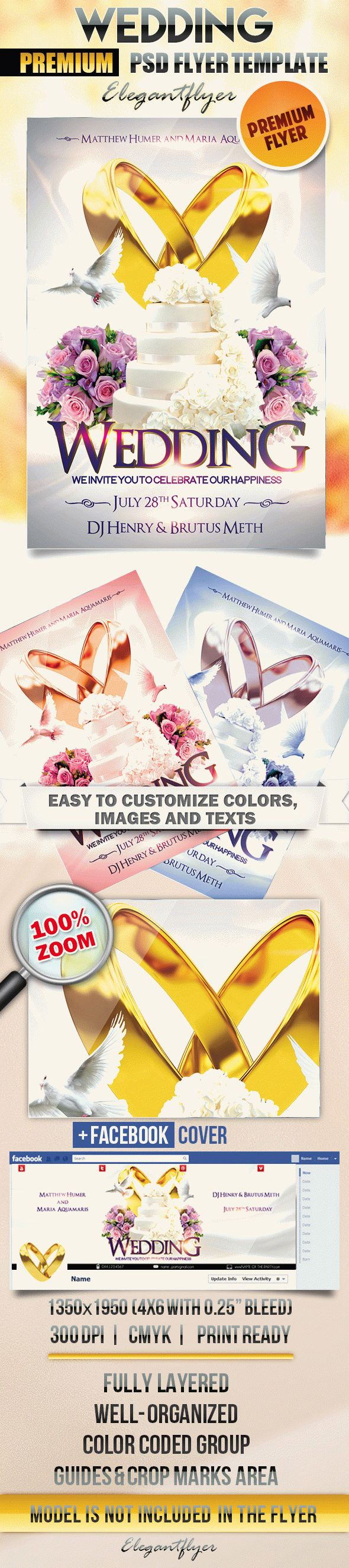 Wedding 2 – Flyer PSD Template + Facebook Cover