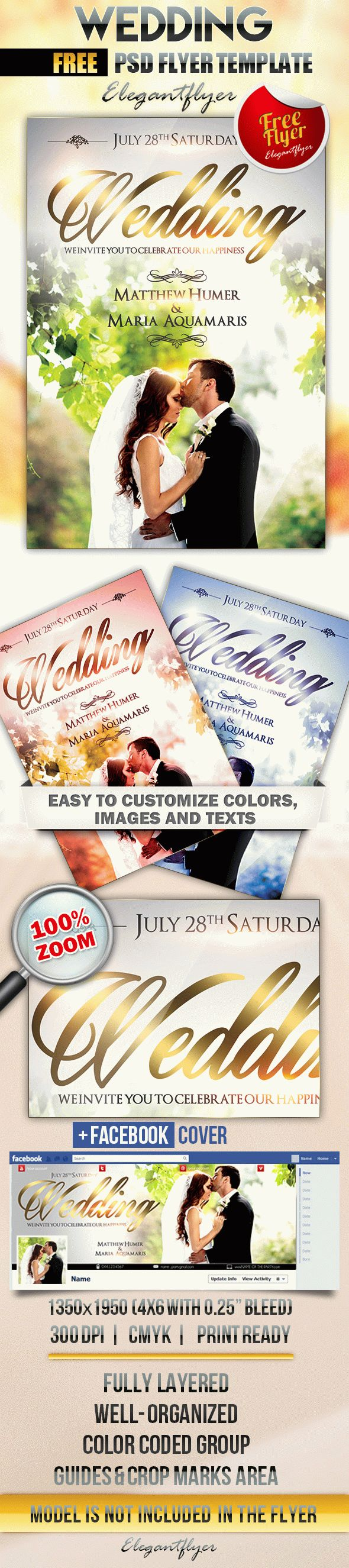 wedding 3  u2013 free flyer psd template  u2013 by elegantflyer