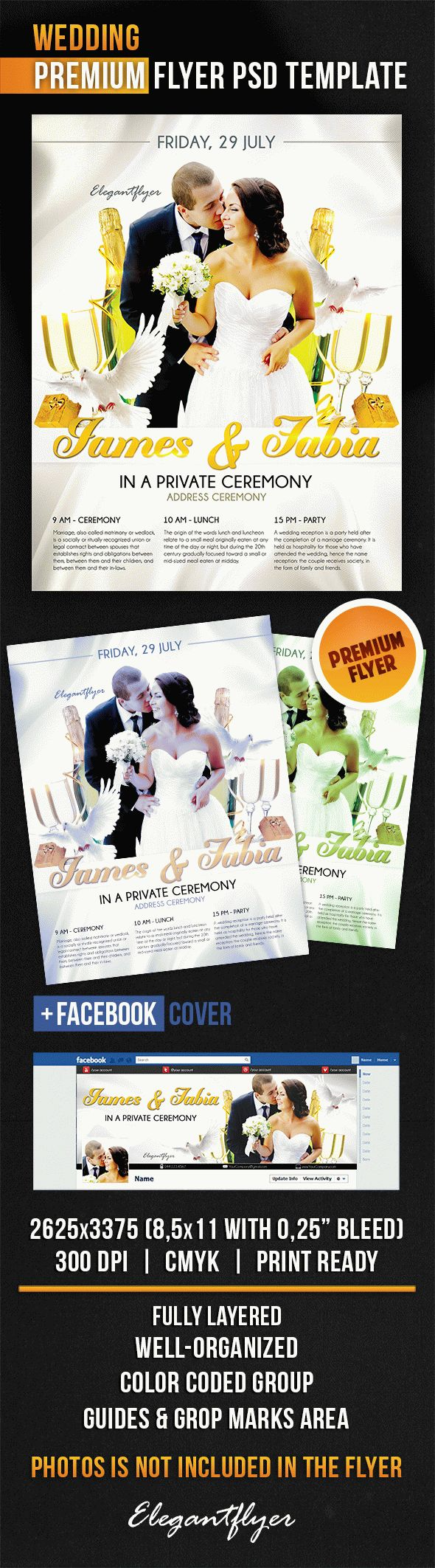 Wedding – Flyer PSD Template + Facebook Cover