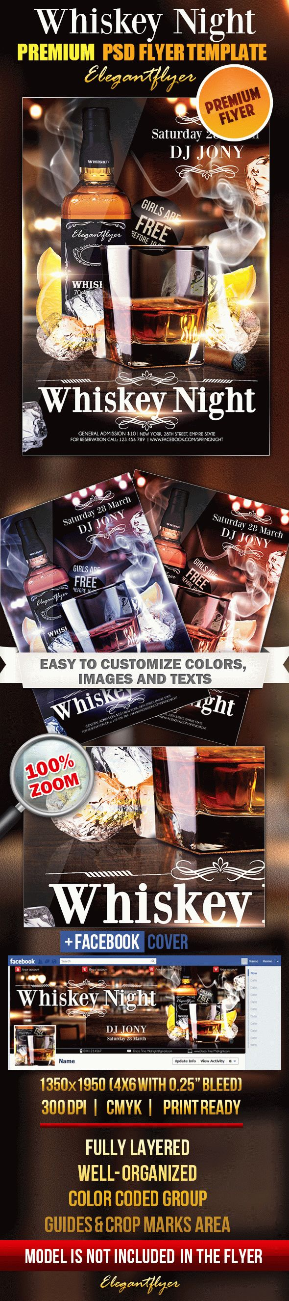 Whiskey Night Flyer PSD Template
