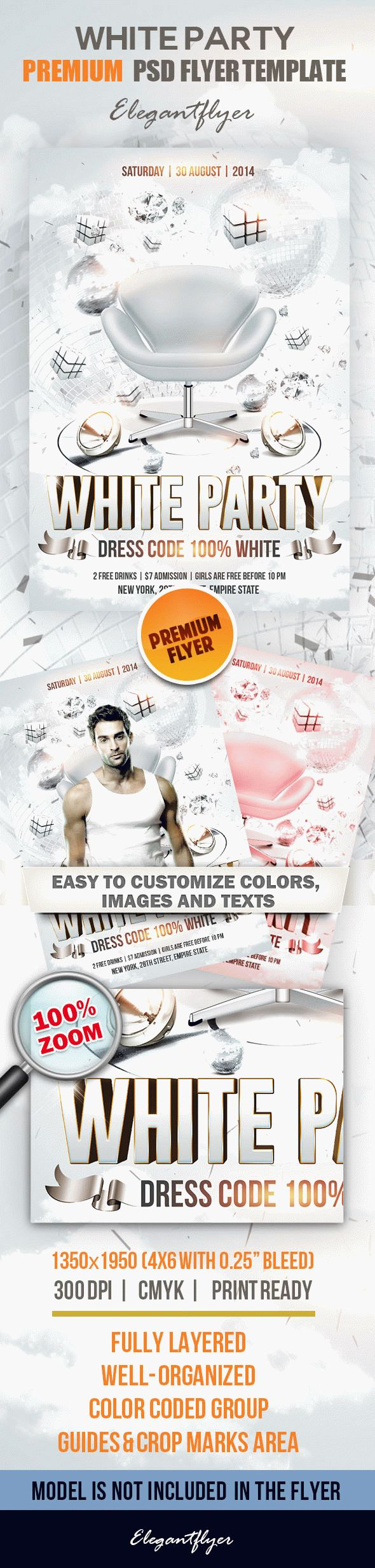 White Party – Premium Club and Party Flyer Template